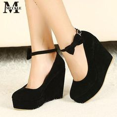 Black Bow Skinny Lace Wedges