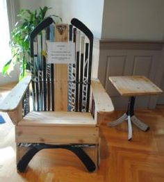 Hockey Stick Adirondeck Chair And Side Table   Available On The UMaine  Online Auction