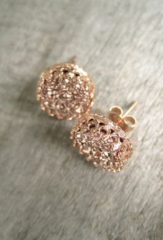 Gorgeous, rose gold druzy quartz coins are hand set inside intricate rose gold vermeil crown ear posts with backs. Natural, druzy stones are