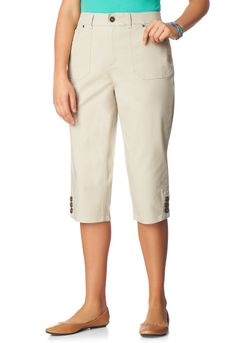 bd4f34d1db6 Twill Capri with Button Detail - PantsChristopher   Banks