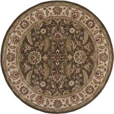 8' Round Dark Brown Oscar Isberian Rugs Traditional Area Rug Made In India. Hand Tufted. Round Shape. Traditional Style.  #Oscar_Isberian_Rugs #Home
