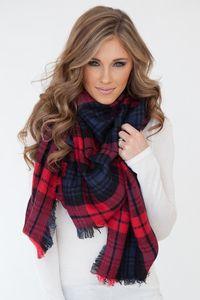 Plaid Blanket Scarf - Red/Navy