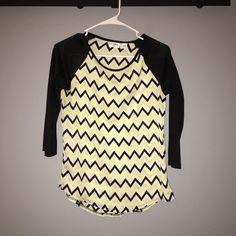 Shirt Lime green black white chevron shirt kids L fits as a woman's XS-Sm Tops