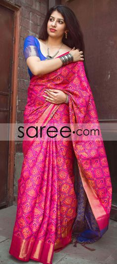 Pink and Blue Jacquard Silk Patola Print Saree With Weaving