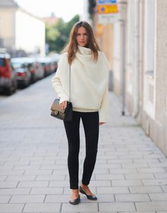 Large white knit   black cigarette pants, Chanel bag & ballerinas