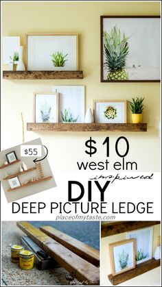 DIY DEEP PICTURE LEDGE. Great way to display photos without putting more holes in the wall every time!