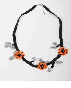 Crochet necklace - handmade - jewelry - natural rhinestone - black - orange - flower - elegant - for women - classic