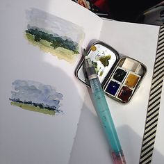 "Drawing Breath: Road Trip! - ""Good thing I had my Stillman & Birn sketchbook and tiny Velasquez palette with me. I used museum putty to anchor the half pans in a little Altoids tin. I added Hookers Green to his Ultramarine Blue, Burnt Sienna and Yellow Ochre palette."""