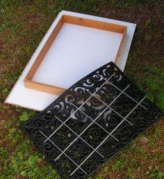 DIY Concrete Pavers - Use rubber door mat to create design