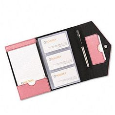 Rolodex Resilient Business Card Book, Faux Leather, Pink