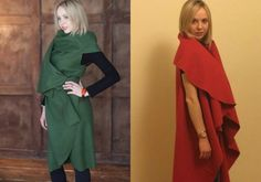 Master class: how to sew a fashionable Cape-transformer in two accounts . Envy to all my friends! Altered Couture, Master Class, Refashion, Duster Coat, Cold Shoulder Dress, High Neck Dress, Fashion Outfits, Sewing, Jackets
