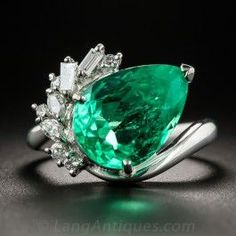4.48 Carat Pear Shaped Colombian Emerald Platinum and Diamond Ring - What's New #gorgeousjewelryrings