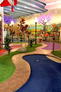 STI Featured Application: Jim Petrarca brings us an indoor putt-putt course, part of the Family Fun Center at the Bavarian Inn Lodge, Frankenmuth, Michigan Indoor Putt Putt, Putt Putt Golf, Indoor Miniature Golf, Indoor Mini Golf, Go Karts For Kids, Kids Church Rooms, Pga Tour Players, Golf Cart Covers, Backyard Putting Green