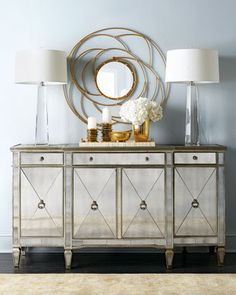 My dining room. LOVE> Now have to pick accent wall color Amelie Mirrored Buffet/Console at Horchow.