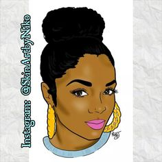 Illustrated comic/pop art style portrait of Rasheeda