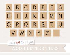 Wood Alphabet Tile Clipart Wooden Letter by LittleRedFoxShoppe
