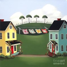 Laundry Between Friends Painting by Catherine Holman - Laundry Between Friends Fine Art Prints and Posters for Sale