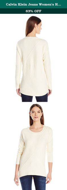 Calvin Klein Jeans Women's High Low Sweater, Pristine, X-Large. A 7Gg cozy stitchy tunic sweater featuring a banded hem and sleeves with crosshatch design on front.