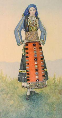 #50 - Kavakli (Macedonia) Macedonia, Greek Traditional Dress, Traditional Outfits, Ancient Greek Costumes, Folk Costume, Gypsy Costume, Costume Collection, Ethnic Dress, Alexander The Great
