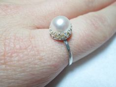 White Freshwater Pearl Ring White Pearl Sterling by palilicium, $50.00