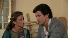 Remington Steele. Pierce Brosnan and Stephanie Zimbalist.