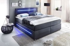 Boxspringbett 160 x 200 cm LIGHTS H2 schwarz » Mega Möbel Luxury Bedroom Design, Lit Simple, Wall Treatments, Luxurious Bedrooms, Home Decor Trends, New Room, Home Decor Bedroom, Home Accents, Living Room Furniture