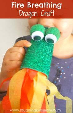 How to make a fire breathing dragon using a cardboard toilet roll | laughingkidslearn #Kids #Crafts #Dragon