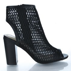 Black Fnt By Wild Diva, Fishnet Peep Toe Sling back High Stacked Heel Dress Bootie Sandal Caged Sandals, Bootie Sandals, Gladiator Sandals, Ankle Booties, Gladiators, Knee High Boots Dress, Dress And Heels, Dress Sandals, Dress Shoes