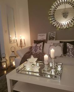 Interior design tips Cozy Living Rooms, Living Room Grey, Home And Living, Living Room Decor, Bedroom Decor, Romantic Home Decor, Diy Home Decor, Ottoman Decor, Small Room Design