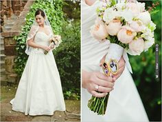 vintage locket on wedding bouquet | VIA #WEDDINGPINS.NET
