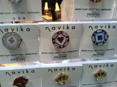 Vegas themed poker chip ball markers seen at the #pgashow. Golfer goody bags. #golf #tournament