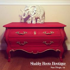 Red and gold Bombé dresser chest by Drexel by ShabbyRootsBoutique