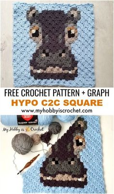 The Hippo C2C Square is a fabulous corner to corner animal block, part of the Wildlife Graphghan CAL on My Hobby is Crochet blog! Crochet Square Patterns, Crochet Blocks, Crochet Patterns For Beginners, Crochet Squares, Crochet Blanket Patterns, Granny Squares, Afghan Patterns, Heart Patterns, C2c Crochet