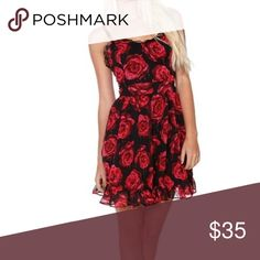 Royal Bones by Tripp Rose Print Frilly Dress Brand new with tags! Comes from a pet and smoke free home. No trades. From Hot Topic! Hot Topic Dresses Midi