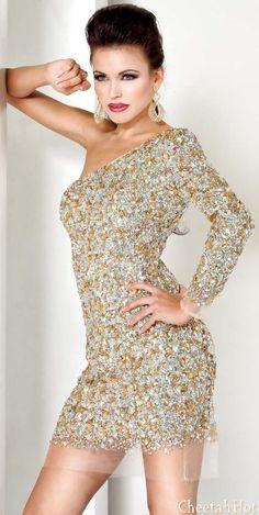 JOVANI - Authentic Designer Dress - One Shoulder Long Sleeve Gown
