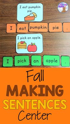 Kindergarten and first grade students will learn how to make simple sentences by arranging the word cards into the correct order. This literacy center is fall themed. Making Sentences, Simple Sentences, Literacy Stations, Literacy Centers, Writing Centers, Literacy Games, Writing Activities, Preschool Activities, Writing Lessons