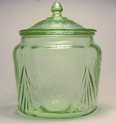 Awesome! Depression glass cookie jar with lid!