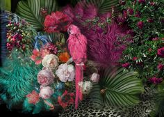 Parrot Wallpaper Floral Wall Mural Colorful Peony Flower Wall Print Tropcai Home Decor Cafe Design Living Room Parrot Wallpaper, Wall Wallpaper, Peony Flower, Flowers, Textile Texture, Floral Wall, Beautiful Wall, Textured Walls, Wall Murals