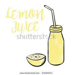 Lemon juice in a bottle with straw and half of lemon vector illustration