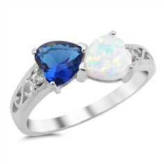 Sterling Silver Created Opal. Blue Sapphire and Cz Heart Ring