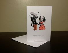 Alien Loves Predator Valentine's Day Card...perfect for the sci-fi horror fan in your galaxy! (nicolesloan on Etsy)