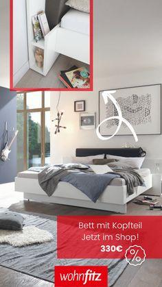 Hülsta Basic Bett mit Polsterkopfteil. 140 x 200 cm als B Ware im Shop erhältlich. Shops, Reach In Closet, Bed Frame, Mattress, Packaging, Homes, Tents, Retail, Retail Stores