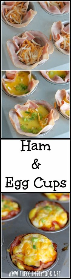 The Country Cook • Baked Ham & Egg Cups - just a small handful of ingredients. So simple but boy, these are SO good and the eggs come out super fluffy. Lots of variations too like tomatoes, green peppers or bacon! #egglandsbest #nationalnutritionmonth #ad #breakfast