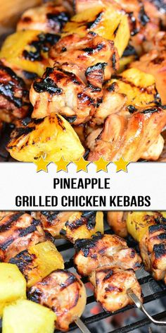 Pineapple Grilled Chicken Kebabs recipe is a delicious sweet and salty combination of marinated chicken and fresh pineapple chunks cooked on a grill. Food Recipes For Dinner, Food Recipes Deserts Grilling Recipes, Cooking Recipes, Healthy Recipes, Grilled Chicken, Marinated Chicken, Yum Yum Chicken, Chicken Recipes, Chicken Appetizers, Dinner Recipes