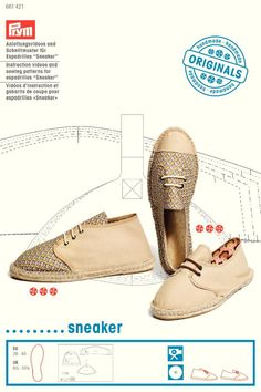 """Instruction videos and sewing patterns for espadrilles """"Sneakers"""""""