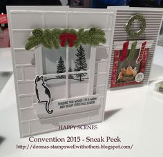 Festive Fireplace stamp set & Hearth & Home Thinlits window die - Stampin' Up