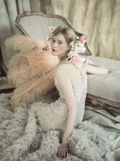 Reem Acra / Hair & Makeup by Michelle Dittrich / Flowers by Elizabeth Wyrick (see our last lovely collaboration here) / Art Direction & Styling Jamie Beck & Kevin Burg / Shot at Ann Street Studio on May 1, 2013