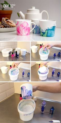 Nail Polish Water Marbling Technique These Nail Polish Swirl Coffee Mugs are so . Handwerk ualp , Nail Polish Water Marbling Technique These Nail Polish Swirl Coffee Mugs are so . Nail Polish Water Marbling Technique These Nail Polish Swirl Coffe. Marble Nail Polish, Nail Polish Crafts, Nail Polish Art, Diy Nagellack, Nagellack Design, Pot Mason Diy, Mason Jar Crafts, Bottle Crafts, Diy Simple