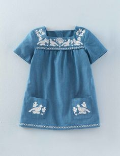 Mini Boden Embroidered Folk Tunic Top in Mid Denim Garden.