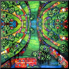 Art.fr - Reproduction montée 'Ville verte, vers1978' par Friedensreich Hundertwasser
